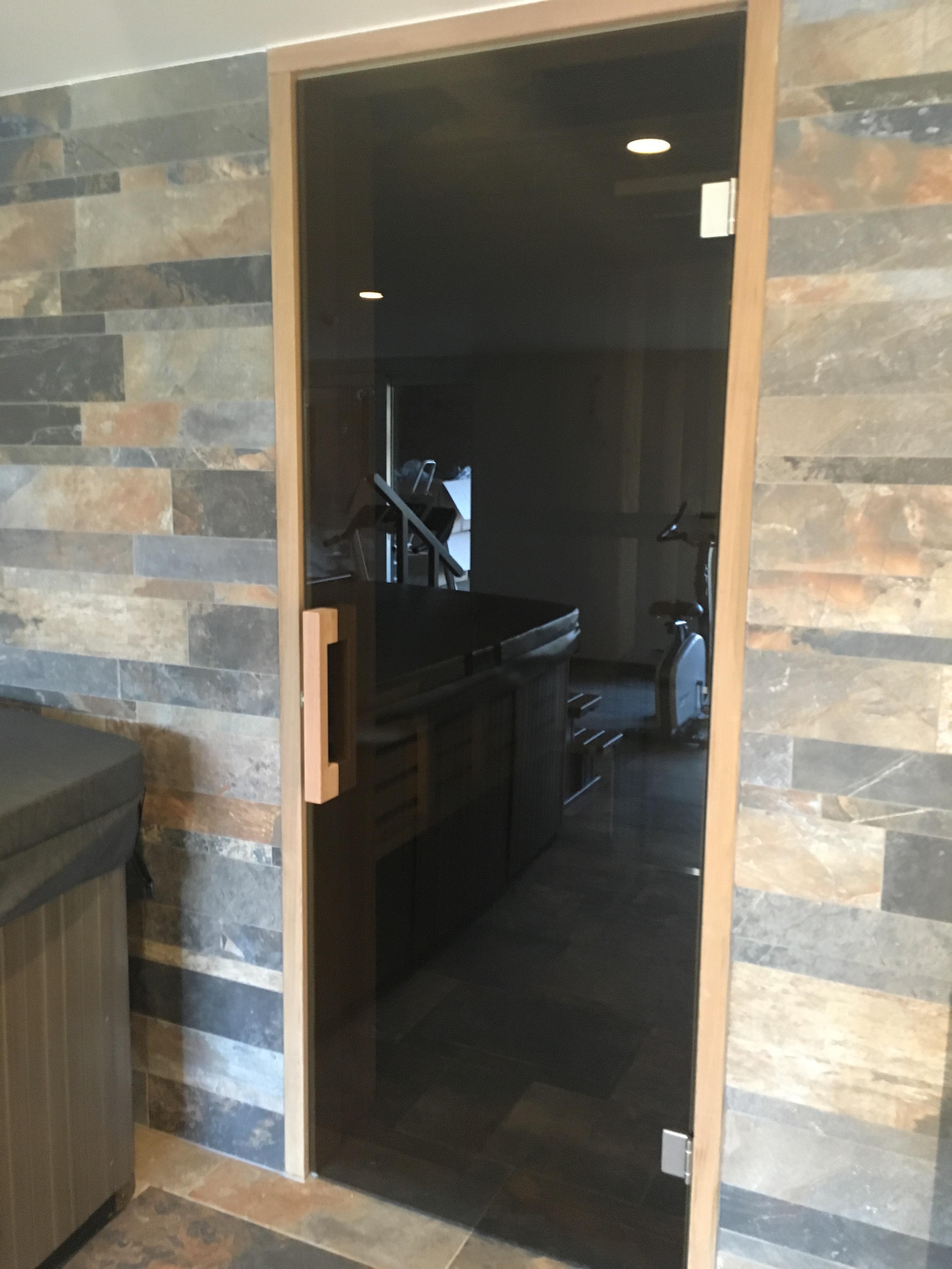 Glazen deur voor sauna in Parsonl Bronze glas